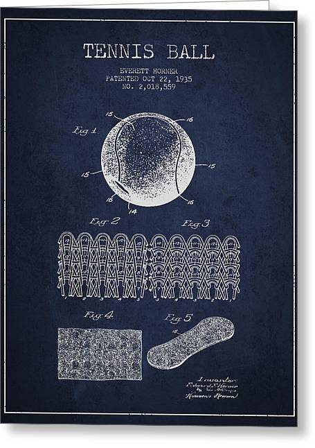 Tennis Art Greeting Cards - Tennnis Ball Patent Drawing from 1935 Greeting Card by Aged Pixel