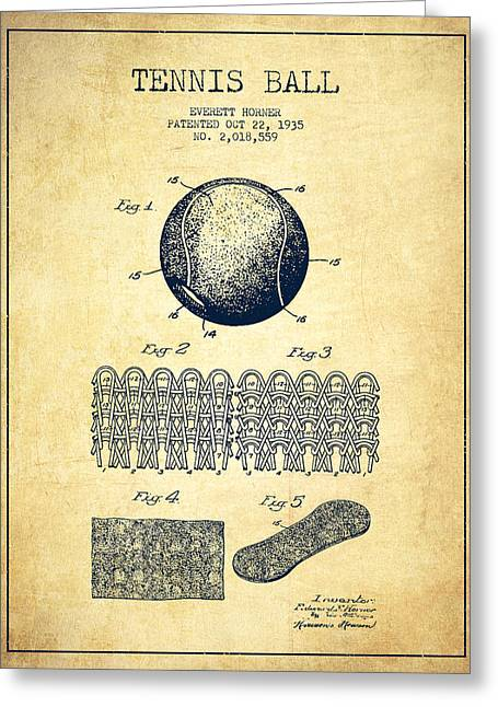 Tennis Art Greeting Cards - Tennnis Ball Patent Drawing from 1935 - Vintage Greeting Card by Aged Pixel