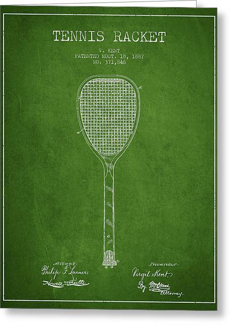 Tennis Racket Greeting Cards - Tennnis Racket Patent Drawing from 1887 Greeting Card by Aged Pixel