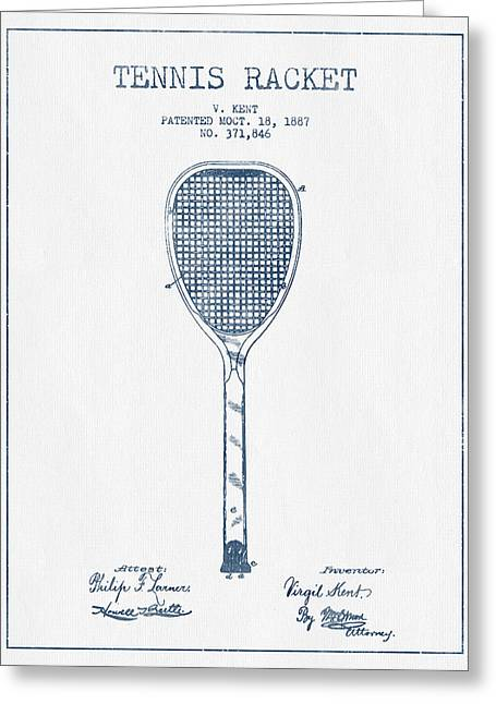 Tennis Racket Greeting Cards - Tennnis Racket Patent Drawing from 1887 -  Blue Ink Greeting Card by Aged Pixel