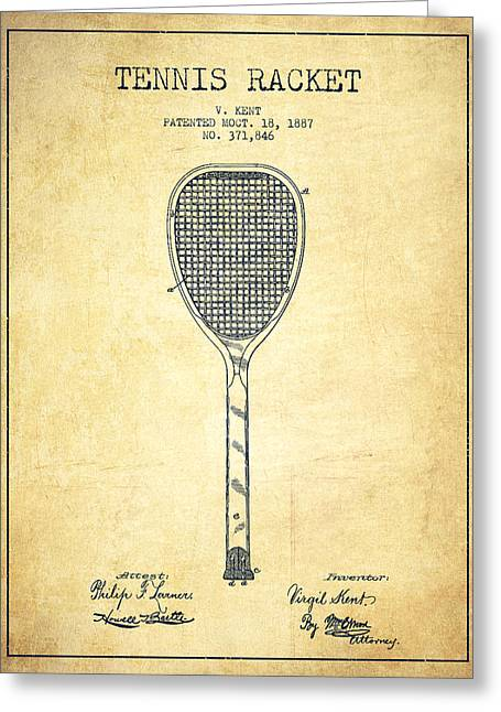 Tennis Racket Greeting Cards - Tennnis Racket Patent Drawing from 1887 - Vintage Greeting Card by Aged Pixel
