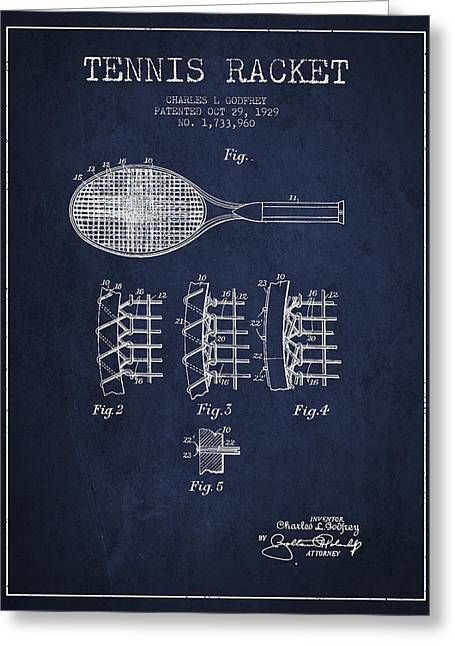 Ball Room Greeting Cards - Tennnis Racket Patent Drawing from 1929 Greeting Card by Aged Pixel