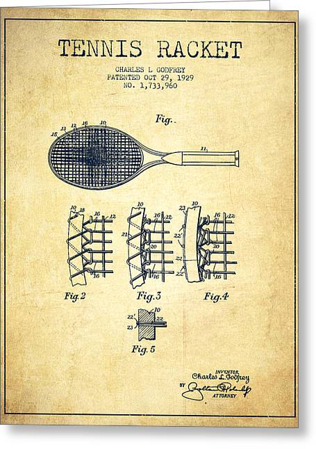 Tennis Racket Greeting Cards - Tennnis Racket Patent Drawing from 1929 - Vintage Greeting Card by Aged Pixel