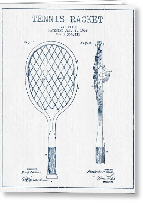 Tennis Ball Greeting Cards - Tennnis Racketl Patent Drawing from 1921 -  Blue Ink Greeting Card by Aged Pixel