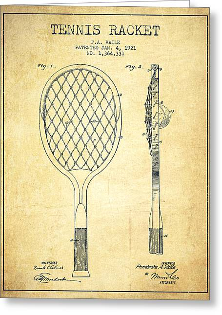 Ball Room Greeting Cards - Tennnis Racketl Patent Drawing from 1921 - Vintage Greeting Card by Aged Pixel