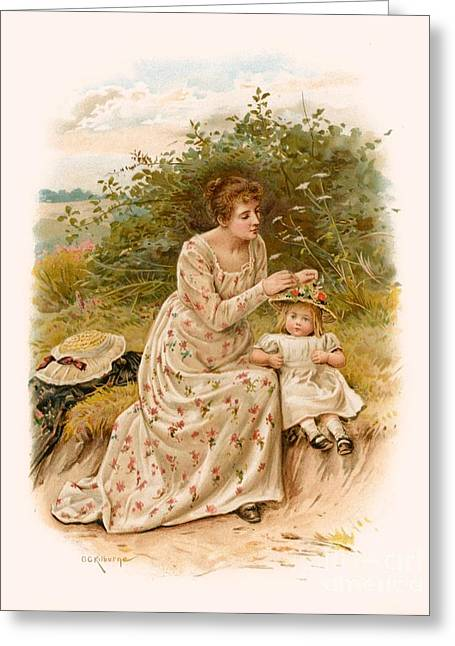 Dress Patterns Greeting Cards - Tennyson s Dora Greeting Card by George Goodwin Kilburne