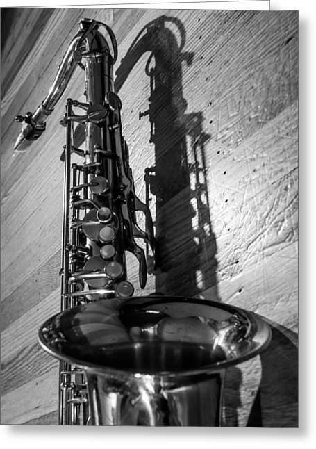 Ligature Greeting Cards - Tenor Saxophone Black and White Vertical Greeting Card by Photographic Arts And Design Studio