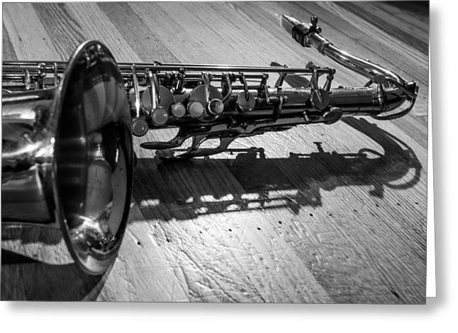 Ligature Greeting Cards - Tenor Saxophone Horizontal Black and White Greeting Card by Photographic Arts And Design Studio