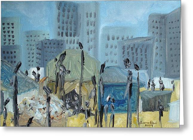 Tent City Homeless Greeting Card by Judith Rhue