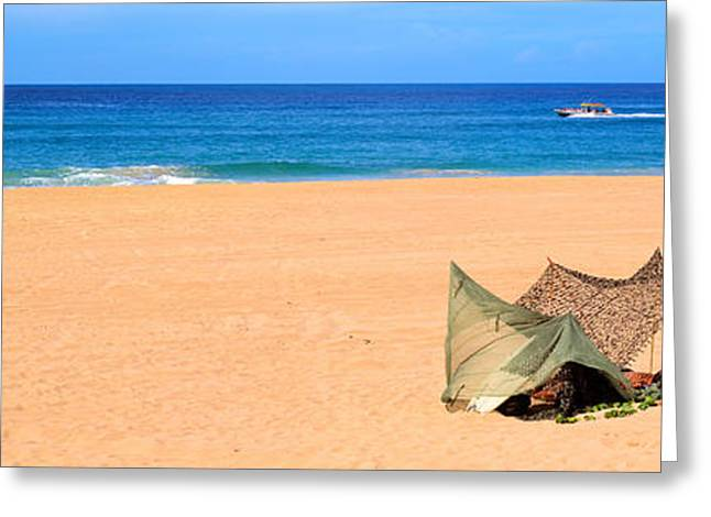 Boats In Water Greeting Cards - Tent On The Beach, Polihale State Park Greeting Card by Panoramic Images