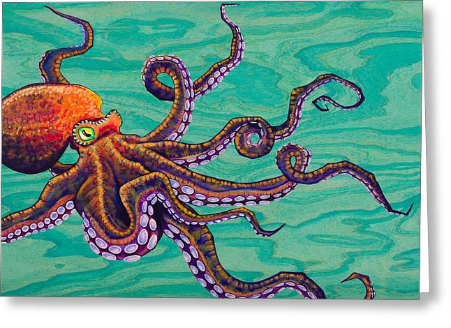 Snorkel Greeting Cards - Tentacles Greeting Card by Emily Brantley