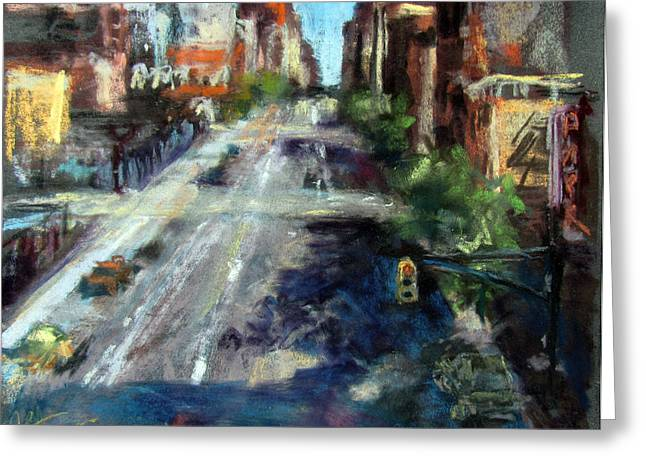 Traffic Pastels Greeting Cards - Tenth Avenue Greeting Card by Julia Patterson