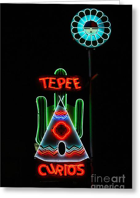 Historic Country Store Greeting Cards - Tepee Curios Neon Sign Greeting Card by Catherine Sherman