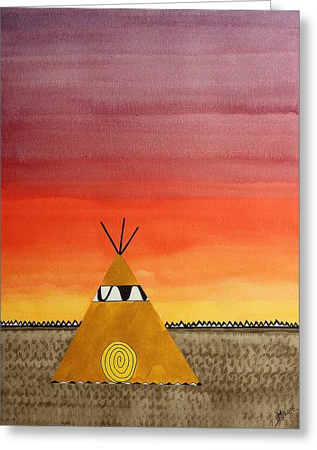 Pen And Paper Greeting Cards - Tepee or Not Tepee original painting Greeting Card by Sol Luckman