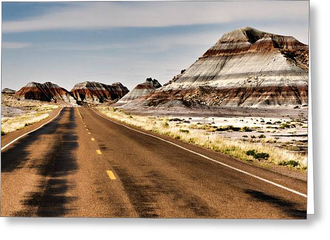 Blue Mudstone Greeting Cards - Tepees Among The Road Greeting Card by Lana Trussell