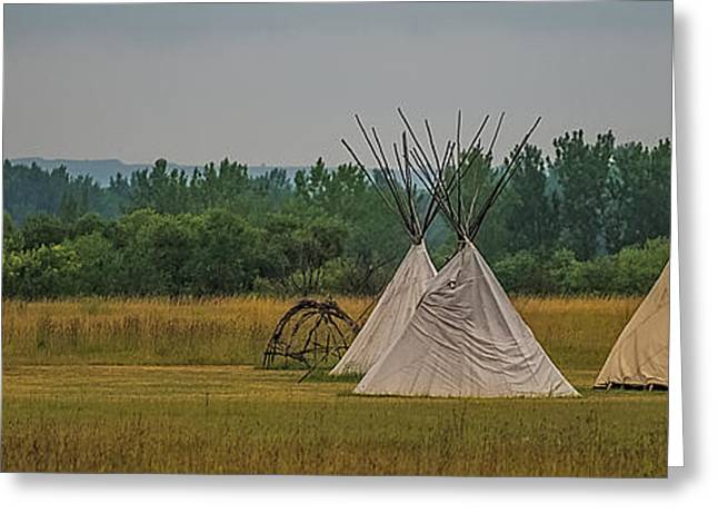 Native American Dwellings Greeting Cards - Tepees Greeting Card by Paul Freidlund