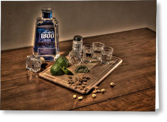 Photography Of Liquor Greeting Cards - Tequila Shots Greeting Card by Greg Thiemeyer
