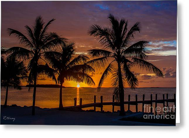 Isla Morada Greeting Cards - Tequila Sunrise and a Margarita Sunset Greeting Card by Rene Triay Photography