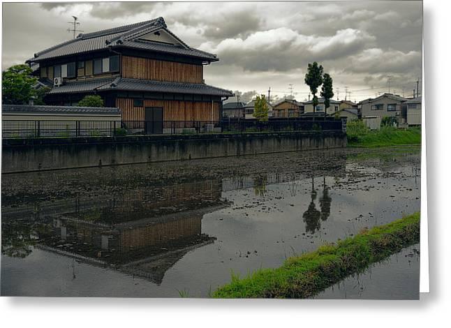 """japan City"" Greeting Cards - Terada Rice Paddy Estate - Japan Greeting Card by Daniel Hagerman"