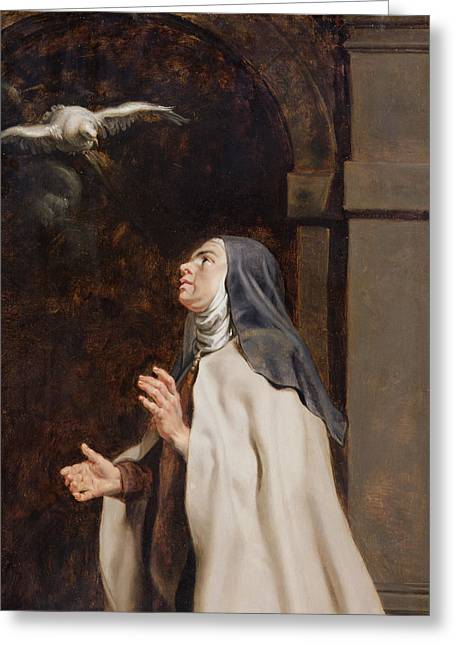 Mystic Greeting Cards - Teresa Of Avilas Vision Of A Dove Greeting Card by Peter Paul Rubens