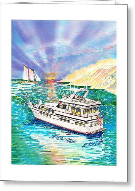Chris Craft Custom Greeting Cards - Terifico at anchor Greeting Card by Jack Pumphrey