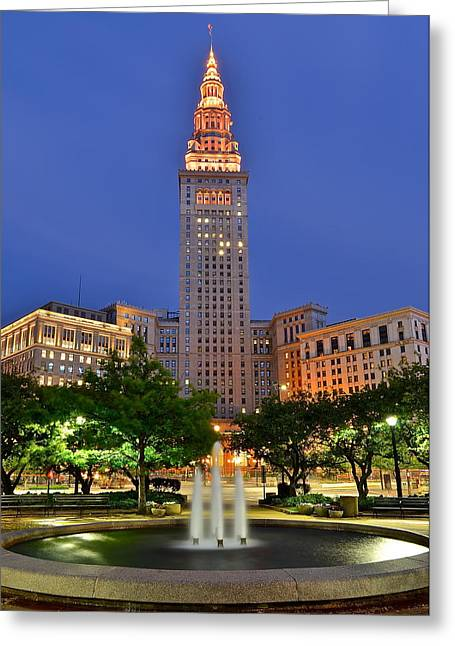Mecca Greeting Cards - Terminal Tower Greeting Card by Frozen in Time Fine Art Photography