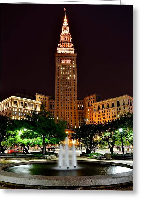 Town Square Greeting Cards - Terminal Tower Version Three Greeting Card by Frozen in Time Fine Art Photography