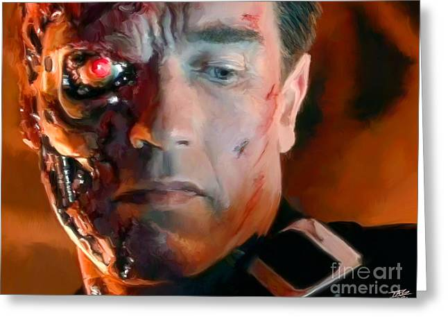 Schwarzenegger Greeting Cards - Terminator Greeting Card by Paul Tagliamonte
