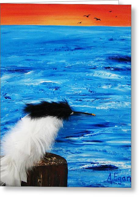 Tern Mixed Media Greeting Cards - Tern on the Water Greeting Card by Annette Egan
