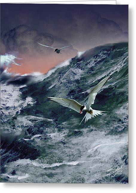 Tern Digital Art Greeting Cards - Terns in the Tempest Greeting Card by Schwartz