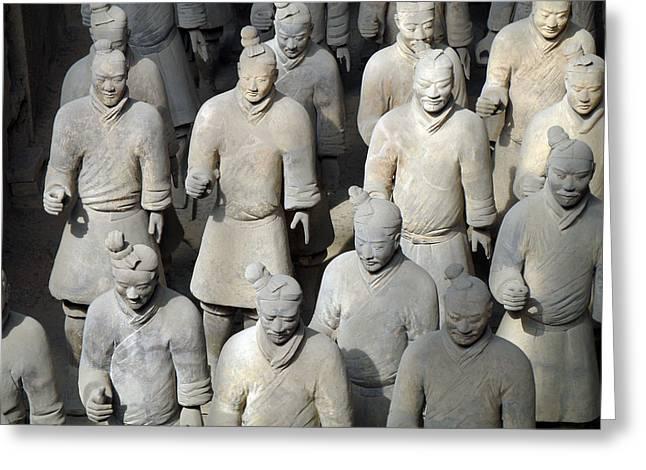 Shaanxi Province Greeting Cards - Terra Cotta Warriors Greeting Card by Eva Kaufman