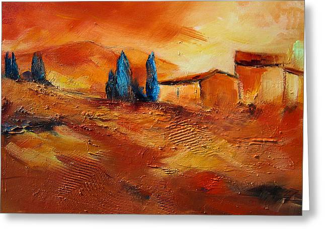 Tuscan Hills Paintings Greeting Cards - Terra di Siena Greeting Card by Elise Palmigiani