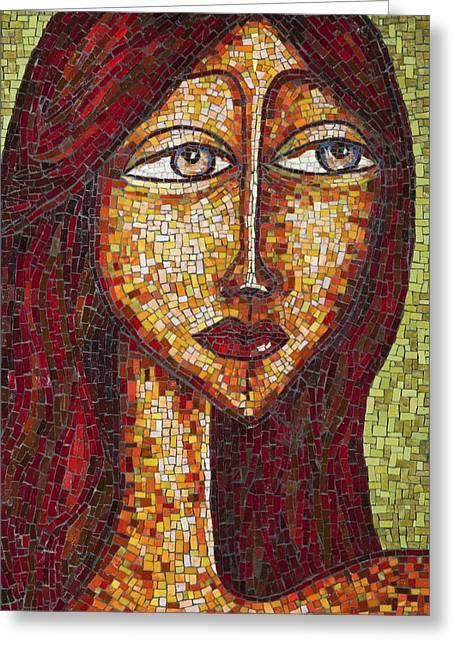 Mosaic Portraits Mixed Media Greeting Cards - Terra Greeting Card by Jacki Gran