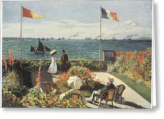 Sailboat Ocean Greeting Cards - Terrace at Sainte-Andresse Greeting Card by Claude Monet