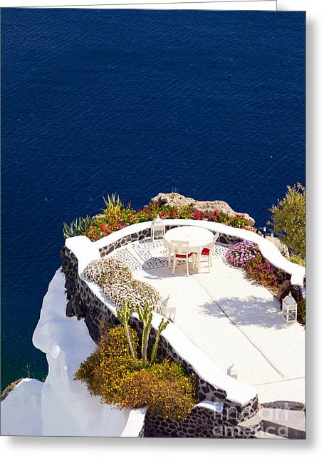 Unique View Greeting Cards - Terrace garden on the cliff Greeting Card by Aiolos Greek Collections