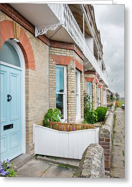 Aldeburgh Greeting Cards - Terrace houses Greeting Card by Tom Gowanlock
