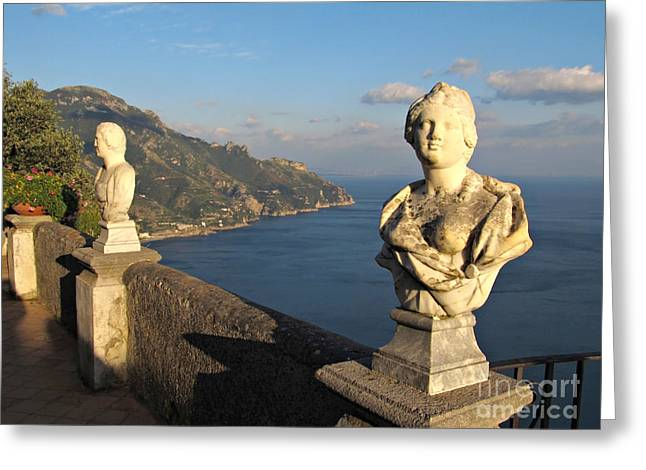 Panoramic Ocean Photographs Greeting Cards - Terrace of Infinity in Ravello on Amalfi Coast Greeting Card by Kiril Stanchev