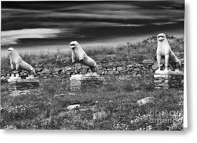 Greek Sculpture Greeting Cards - Terrace of the Lions Greeting Card by John Rizzuto