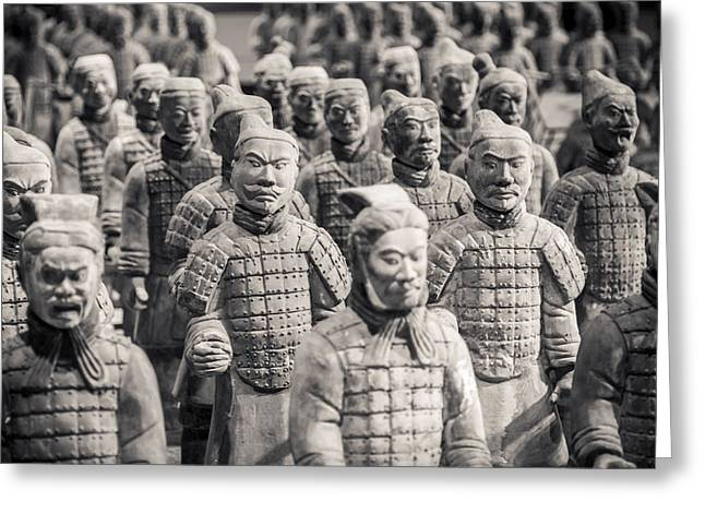 White Clay Greeting Cards - Terracotta Army Greeting Card by Adam Romanowicz