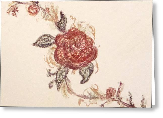 Vines Pastels Greeting Cards - Terracotta Rose Vine Greeting Card by Christine Corretti