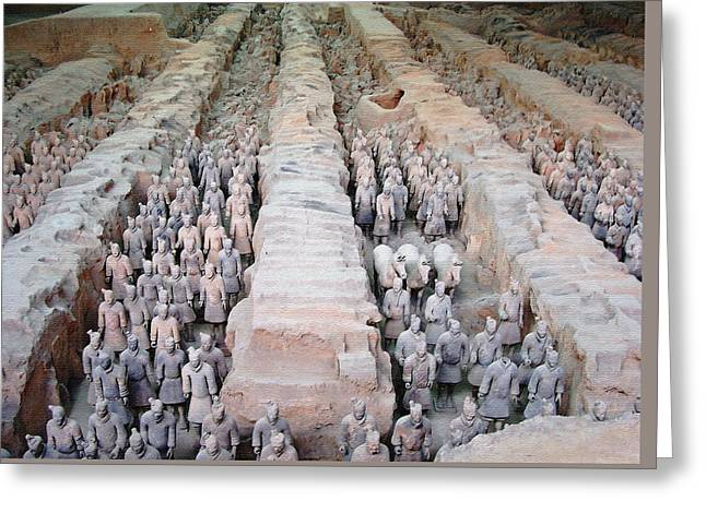 Shaanxi Province Greeting Cards - Terracotta Warriors And Horses Greeting Card by Debbie Oppermann