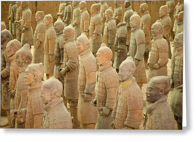 Xian Greeting Cards - Terracotta Warriors Greeting Card by Rory Wallwork