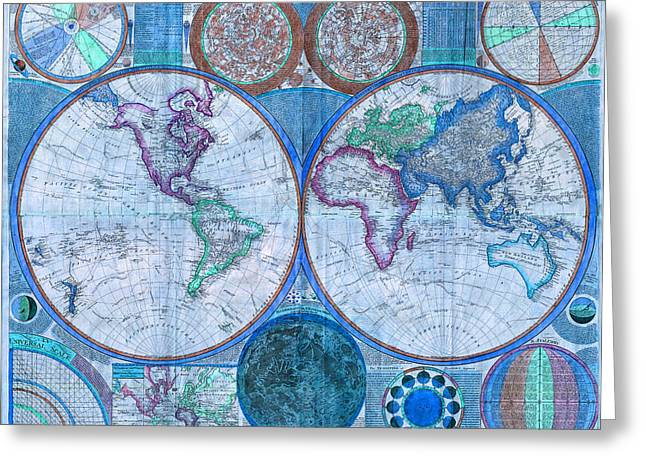 Global Map Mixed Media Greeting Cards - Terraqueous Globe - Map of the World Greeting Card by EricaMaxine  Price