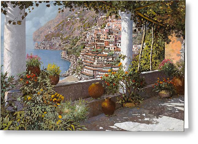 Guido Borelli Greeting Cards - terrazza a Positano Greeting Card by Guido Borelli