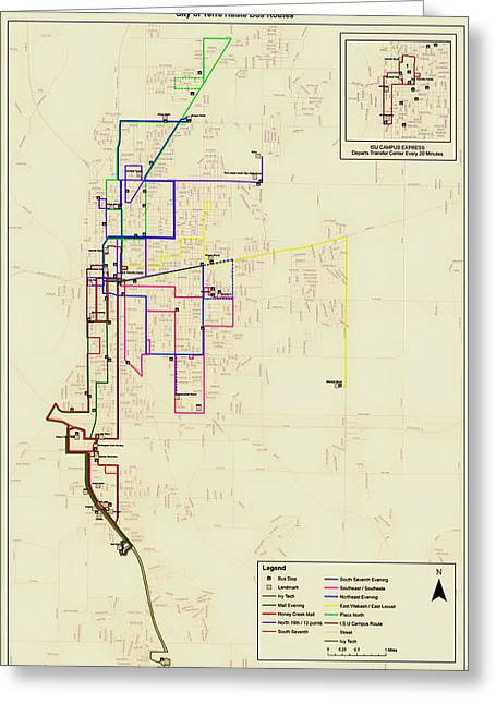 Bus Stop Greeting Cards - Terre Haute Indiana Bus Routes Map Greeting Card by Mountain Dreams