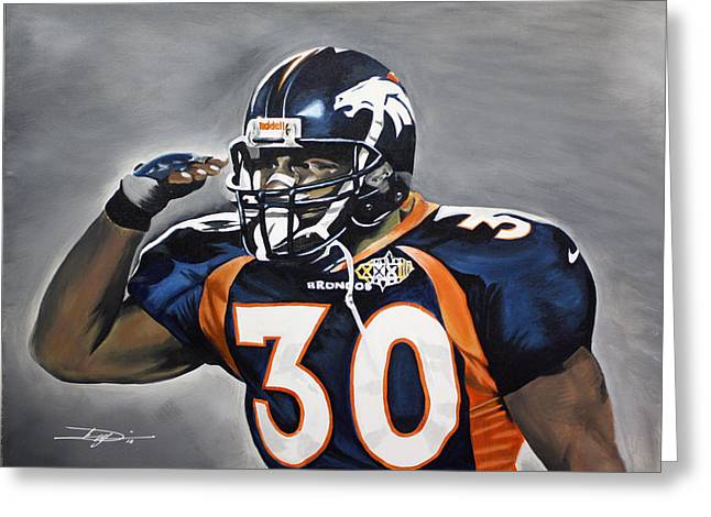 Best Sellers -  - Don Medina Greeting Cards - Terrell Davis  Greeting Card by Don Medina