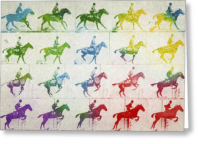 Race Horse Greeting Cards - Terrestrial locomotion Greeting Card by Aged Pixel
