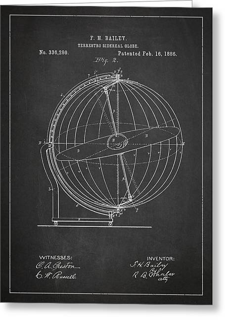 Planet Map Greeting Cards - Terrestro Sidereal Globe Patent Drawing From 1886 Greeting Card by Aged Pixel