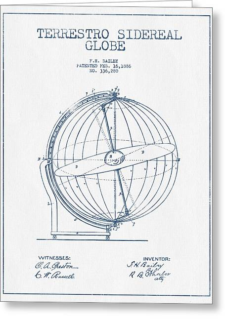 Continent Digital Greeting Cards - Terrestro Sidereal Globe Patent Drawing From 1886- Blue Ink Greeting Card by Aged Pixel