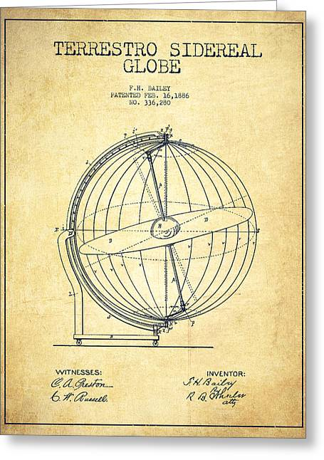 Continent Greeting Cards - Terrestro Sidereal Globe Patent Drawing From 1886 -Vintage Greeting Card by Aged Pixel